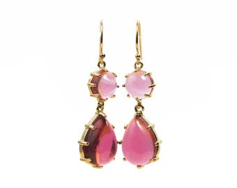 Earrings silver gold plated end and glass cabochons
