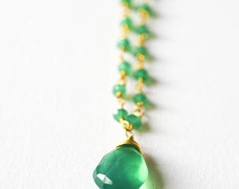 Chain necklace silver gold plated green Onyx & fine