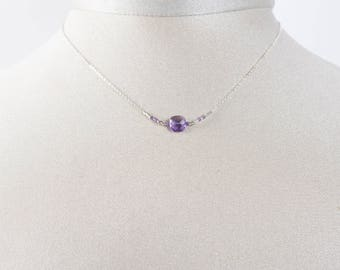 Necklace chain 925 sterling silver and pink Amethyst