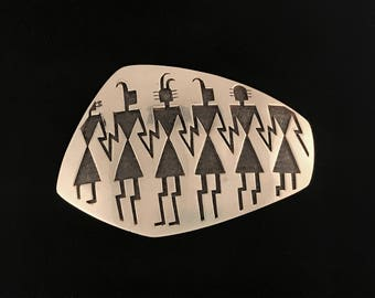Vintage Hopi-made Native American sterling silver overlay belt buckle by Riley Polyquaptewa, pottery shard design