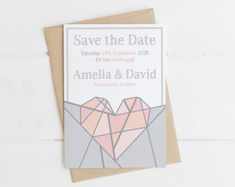 Geometric Blush Pink 'Amelia' Save the Date Wedding Stationery Suite - SAMPLE