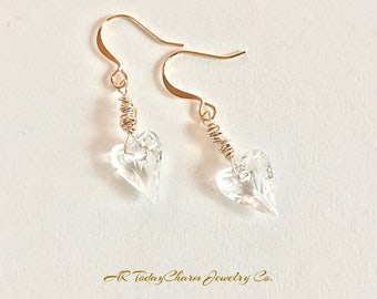 Heart Hand Wrapped Swarovski Crystal Earrings on Gold