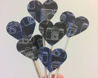 Camera cupcake toppers, teen birthday cupcake toppers, heart cupcake toppers