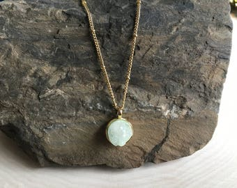 Mint Druzy Gold Necklace, Bohemian Jewelry, Valentine's Day Gift