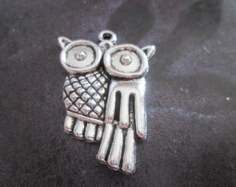 large charm / metal OWL pendant silver 36 x 25 mm