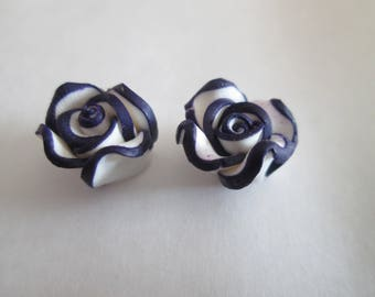 2 beads pink 12mm purple and white fimo flower