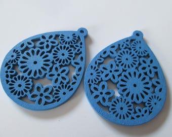 prints 2 openwork wood, wood beads drops blue 50 x 38 mm