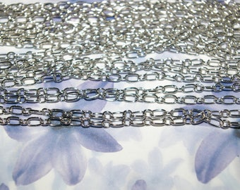 10 m round and oval link chain antique silver