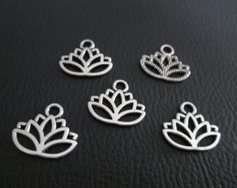 10 charms 17 x 14 mm silver plated lotus flower