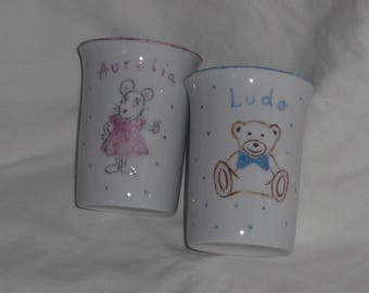 2 cups porcelain gift personalized birthstone-baptism-child
