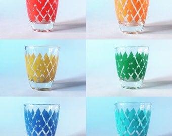 Set of 6 Vintage Shot Glasses with Colourful Harlequin Design