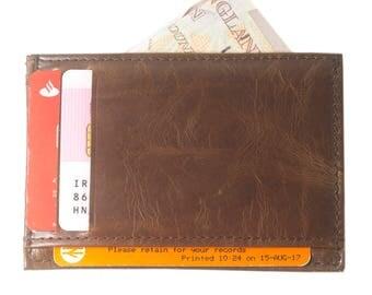 Vintage Genuine Leather Credit Card Holder LIGHT BROWN
