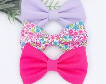 Baby Girl Hair Bows   Bow Headband set   Nylon Headbands - clips - toddler / Infant bows   Fabric bow headband lavendar - pink - spring