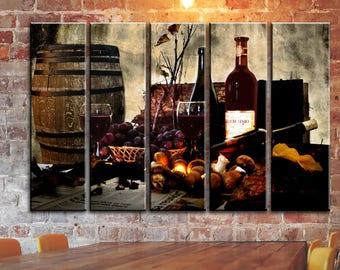 big set kitchen wall art winery red wine wall canvas art bottle glasses barrel canvas wall