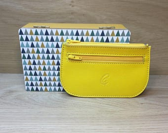 Wallet card leather yellow