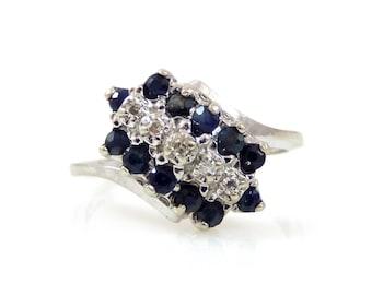 Sapphire & Diamond 10K White Gold Asymmetrical Ring - X2112