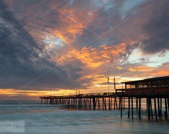 Ocean Sunrise at Nag's Head Fishing Pier, Outer Banks, North Carolina, Landscape Print Photograph, Wall Decor