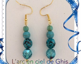 Earrings and turquoise blue, silver or gold plated hooks.