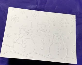 Christmas snow scene with 3 snowmen embossed on ivory blank note card.  Set of 5