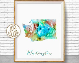 Washington State Washington Decor Washington Print Washington Map Art Print Office Art Watercolor Map Office Poster ArtPrintZone