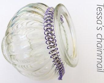 Lilac with silver bracelet, minimalist bracelet, lilac bracelet, silver bracelet, lilac with silver jewelry, Tessa's chainmail
