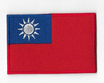 """Taiwan Country National Flag Sew on Patch Embroidered Applique Patches Emblem Souvenir 3"""" x 2"""" FREE SHIPPING"""