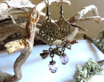 """Marie Antoinette"" Earrings: ornate bronze rose, bronze bow, pink faceted glass beads."