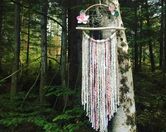 Large Pink Driftwood Dreamcatcher, Dream catcher, Dreamcatcher, Flower Dreamcatcher, Bohemian Art, Boho Chic,  Bohemian Wall Hanging, Floral