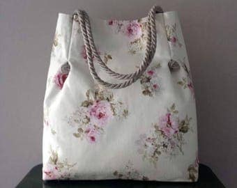 Floral fabric shoulder bag with DrawString handles torchon