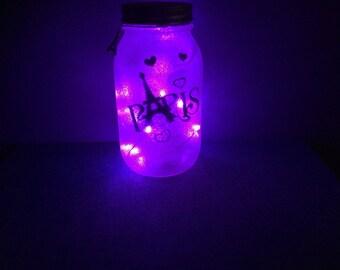Paris LED Mason Jar Light