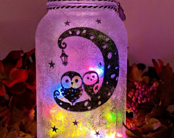 Owl LED Mason Jar Light
