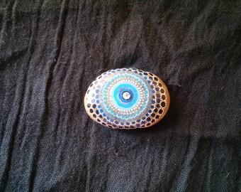Pebble painted mandala waves blue with Rhinestone Center
