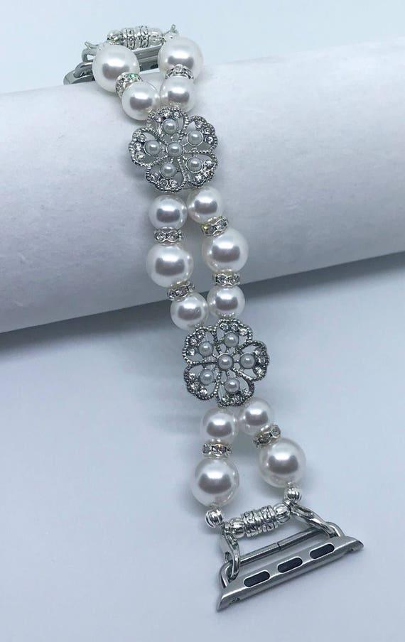 "Apple Watch Band*, Women Bead Bracelet Watch Band, iWatch Strap, Apple Watch 38mm, 42mm, White Swarovski Pearls Silver Metal 6 - 6 1/4"""
