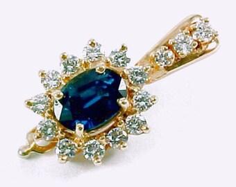 Sapphire Diamond 14k Yellow Gold Pendant Enhancer