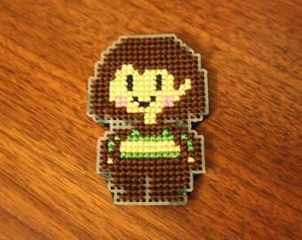 Undertale - Chara pixel cross-stitch