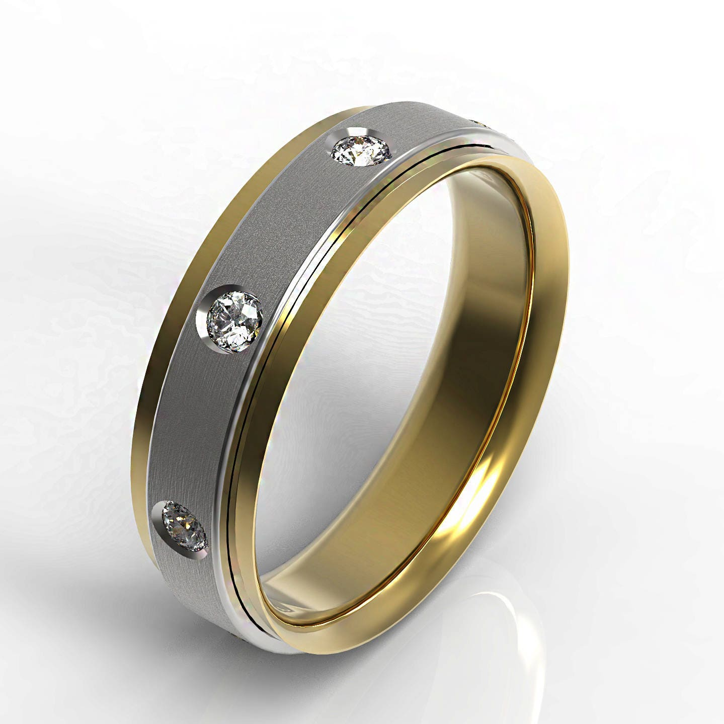 Double layer 14 K white and yellow gold wedding band bezel set
