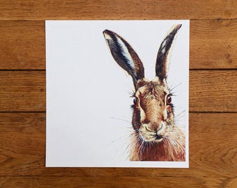 Hare giclée print - unmounted print - hare print - hare painting - hare art - 40 x 40 cm
