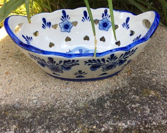 TS Holland Delft Blue Hand Painted Bowl Hearts Flowers Cutout