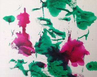 ORIGINAL WATERCOLOR acrylic Watercolour Painting art art flowers picture abstrackt Watercolour art