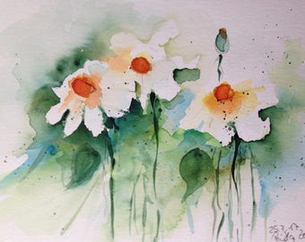 ORIGINAL WATERCOLOR art watercolor painting daisies flowers Watercolour