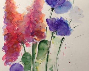 Original watercolor painting flower flowers Watercolour Flowers