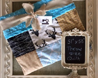 Handmade Throw Size Patchwork Quilt