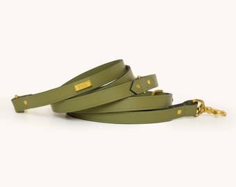 OLIVE LEAD | Leather multifunctional dog lead. Lambskin leather handmade lead, finished with gold hardware. Luxury dog lead by Ghala.