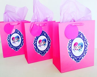 Shimmer and Shine Themed Party Gift Bags - Personalised - Birthday Favours - Goodie Loot Bags - Pink, Blue, Purple, White