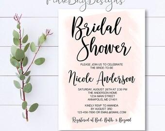 Watercolor Bridal Shower Invitation, Blush Pink Watercolor Invite, Bridal Shower Invitation, Watercolor Invitation, Pink Watercolor Invite