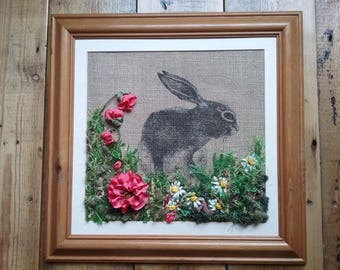 Silk ribbon embroidery flower hare picture gift wall mounted