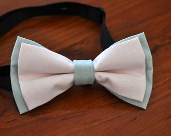 NEW Pink and Grey 100% Cotton Hand Made Best Man Bowtie Bow Tie Wedding Ball Party