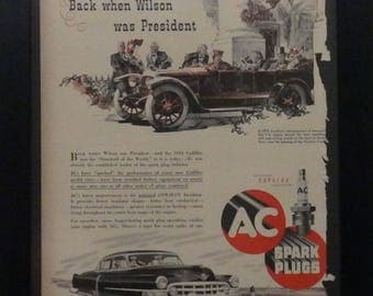 AC Sparkplug, Vintage Ad, Illustration, 1914 Cadillac, 1952 Cadillac, Man Cave Decor, Garage Decor, Ephemera, Collage, Mixed Media