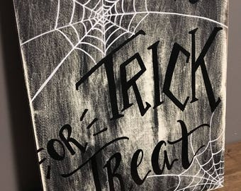 Trick or treat halloween wood sign