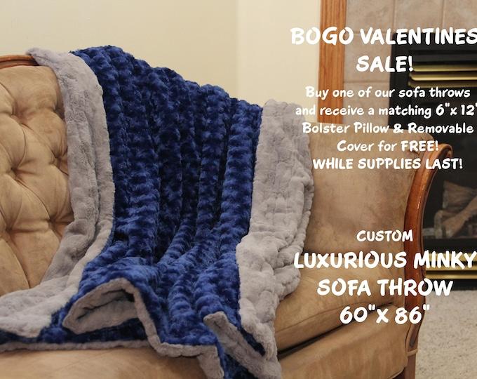 BOGO Giant Adult Minky Blanket, Minky Blanket Adult, Child Minky Blanket, Sofa Throw Blanket, Sofa Faux Fur Blanket, Valentines Day Gift
